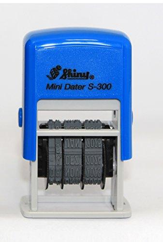 Datumsstempel Mini Dater Shiny S-300, bis Jahr 2025, blaues Stempelkissen, Selbstfärbestempel