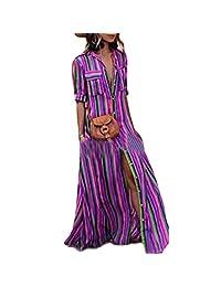 Camisa cruzada a rayas con arco iris de mujer Vestido largo a rayas con abertura de playa Boho
