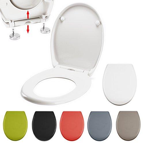 Premium Duroplast WC Sitz, Absenkautomatik, Fast Fix/Schnellbefestigung, Edelstahl-Befestigung mit Knopfdruck, Toilettensitz WC Deckel Klobrille Weiß Anthrazit Braun (Weiß)