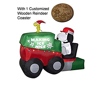 hyelloss 9.5 Ft Christmas Snoopy and Woodstock on Zamboni Machine Lighted Inflatable with 1pc Red Snowflakes Ornament, Cute Indoor Outdoor Decoration, Large Airblown Inflatable with Lights