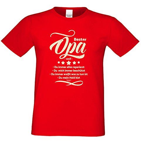 Großvater Fun-T-shirt als Top Geschenk mit GRATIS Urkunde - Bester Opa weil Farbe: rot Gr: 5XL