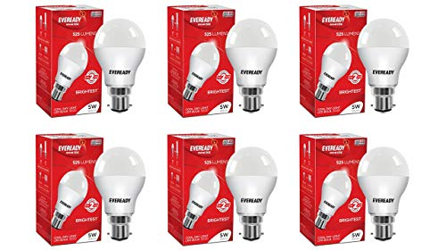 Eveready Base B22 5 Watt LED Bulb  Pack of 6, White