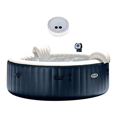 (Intex Pure Spa Inflatable 6-Person Bubble Hot Tub + PureSpa Battery LED Light)