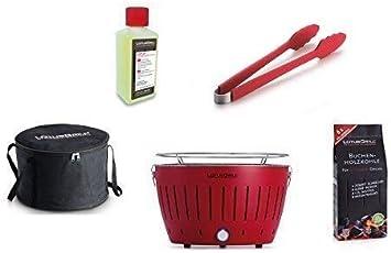 LotusGrill - Barbacoa con conexión USB, 1 carbón de haya de 1 kg, 1 pasta de combustión de 200 ml, 1 pinzas de salchicha rojo fuego y 1 bolsa de transporte - la barbacoa de carbón vegetal sin humo, ro