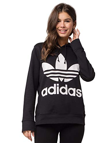 (adidas Originals Women's Trefoil Hoodie, Black/French Terry, Large)
