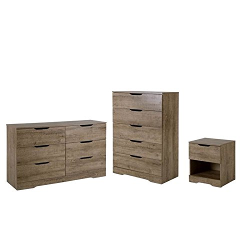 Home Square 3 Piece Set with Nightstand Chest and Dresser in Weathered Oak