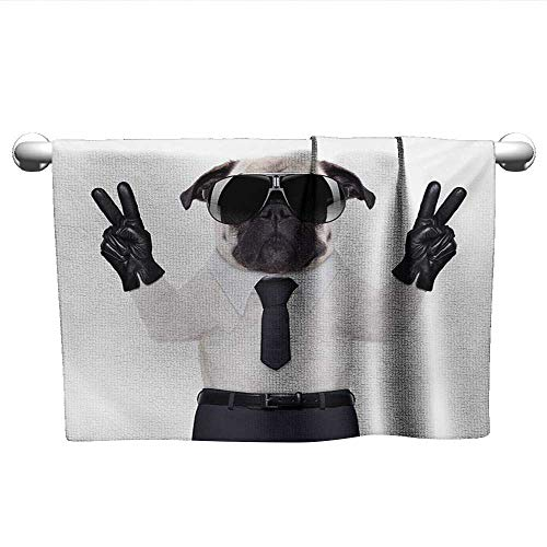 (alisoso Pug,Kids Towels Fancy Looking Pug Victory Sign with Both Paws Wearing Cool Black Sunglasses Animal Fun Gym Towels for Women Black White W 35