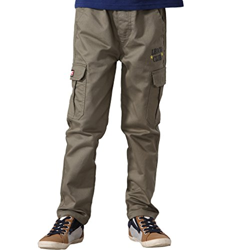 Adjustable Waist Cargo Pants (Leo&Lily Boys' Regular Fit Elastic Waist Dobby Twill Cargo Pants 5 Olive)