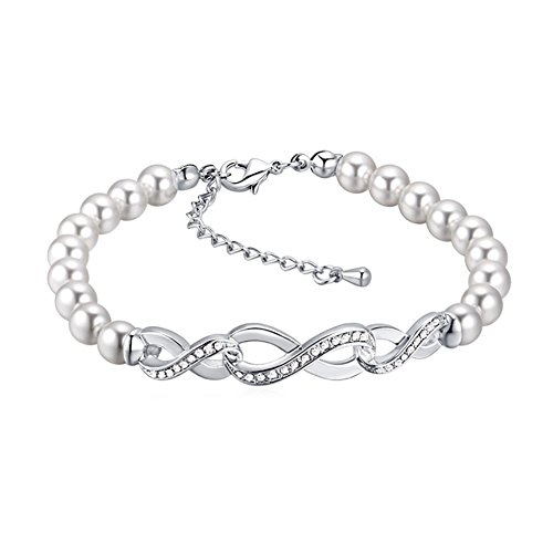 Love Endless Charm (Youfir Womens Pearl Swarovski Crystals Infinity Endless Love Symbol Charm Adjustable Bracelet(Clear))