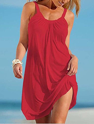 A Bagno Rosso Pieghe Costume Delle Abito Occultamento Senza Bikini Casuale Brillante Rilassato Mini Da Camisunny Donne Del Estate Spiaggia Maniche Di Spqwz6