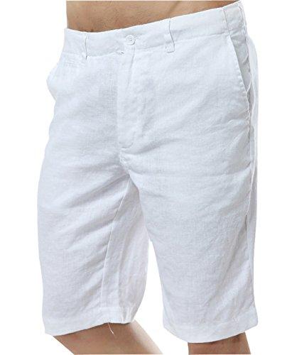 Chartou Men's Comfy Mid-Rise Light-Weight Linen Beach Shorts Five Pants(Large, White) (Weight Linen)