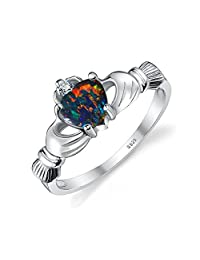 JewelryPalace Heart 0.6ct Irish Celtic Claddagh Created Black Opal Birthstone Promise Ring 925 Sterling Silver