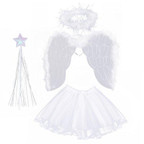 OULII Girls Angel Costume Set Fairy Wand Tutu Skirt Angel Wing Angel Halo Headband Set of 4 White ()