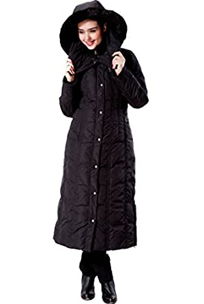 """Phistic Women's """"Lacey"""" Long Hooded Puffer Down Coat - Black XS"""