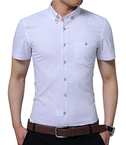 (YTD Mens 100% Cotton Casual Slim Fit Short Sleeve Button Down Printed Plaid Dress Shirts (Medium, White))