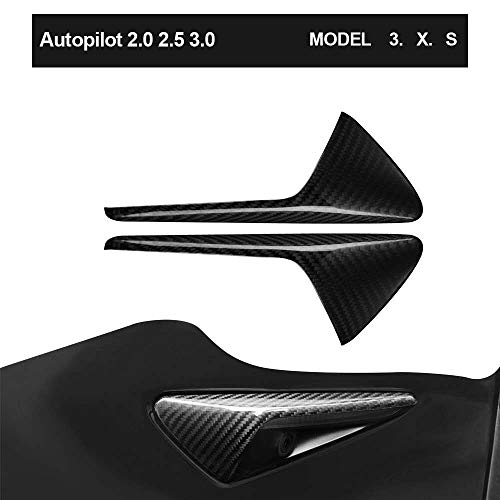 TOPlight Tesla Model 3 S X Autopilot 2.0-3.0 Real Carbon Fiber Side Markers Turn Signal Covers Perfect Fitment Pair of Overlays Easy Install Lightweight Indicator Cover Carbon Fiber Cap (Signal Turn Model)