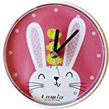 Lumia Waterproof Small Suction Padded Animal Wall Clock Kitchen, Bathroom, Shower, 4.7 inch (Bunny)