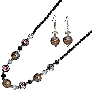 Ace Of Diamonds Fantine Italian Murano Glass and Austrian Crystal 18 Inch with 3 Inch Extension Necklace and Earrings Set