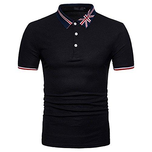 (Men's Regular-Fit Quick-Dry Golf Shirt American Flag Print Regular-Fit Cotton Button Work Shirt Black)