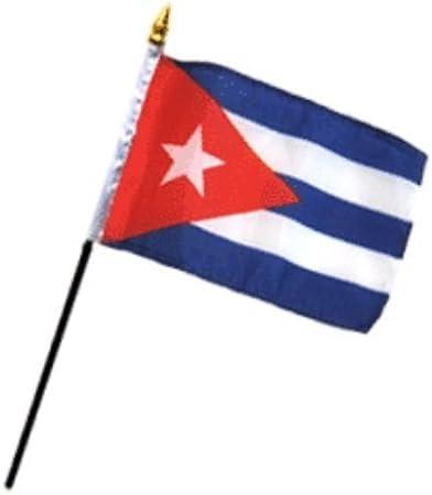 Bandera de Cuba de 10, 16 x 15, 24 cm, juego de mesa de escritorio, base negra, la mejor decoración para jardín, exterior, material de poliéster de alta calidad, color vivo y