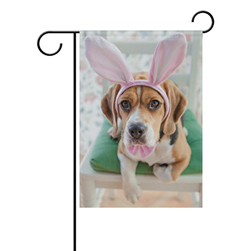 Vantaso Garden Flag Decorative Young Beagle Dressed Up As Easter Bunny Polyester Double Sided Printing Fade Proof for Outdoor Courtyards Garden 28x40 inch (Beagle Garden)