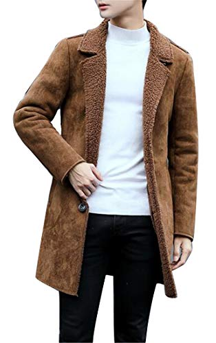 - XiaoTianXin-men clothes XTX Mens Winter Faux Fur Lined Faux Suede Coat Quilted Jacket Overcoat Outerwear Camel L
