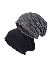 EINSKEY Slouchy Beanie Hat, 2 Pack Thin Cotton Jersey Skull Cap Baggy Summer Hat