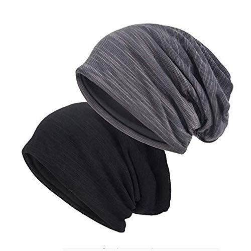 EINSKEY Slouch Beanie Hat, 2 Pack Unisex Cotton Jersey Skull Cap Thin Baggy Headwear Summer Hat (Black & Grey) bonnet homme