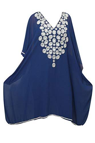 b2e7359cd9 Mogul Interior Women Caftan Dress Blue Sequin Georgette Beach Party Wear  Cover ups One Size: Amazon.co.uk: Clothing
