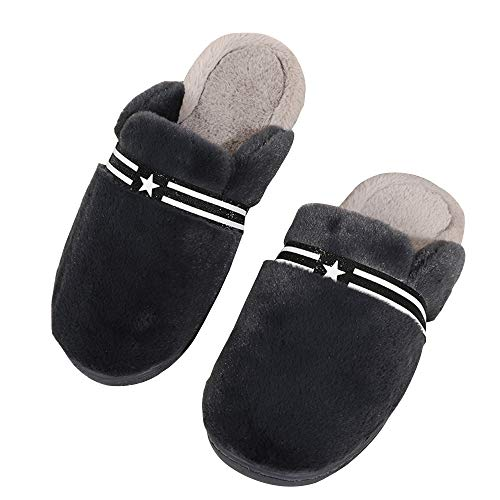 Shoes House Indoor on Foam Slip Fleece amp; Outdoor Plush Slipper Men's Dark Memory Gray Lining Clog xSvn1Wq1Fc