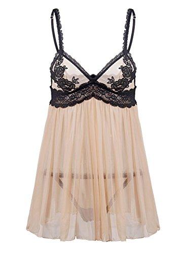 EVAbaby Sexy Women Lingerie Lace Nightdress Mesh Babydoll Chemise Sleepwear 3XL