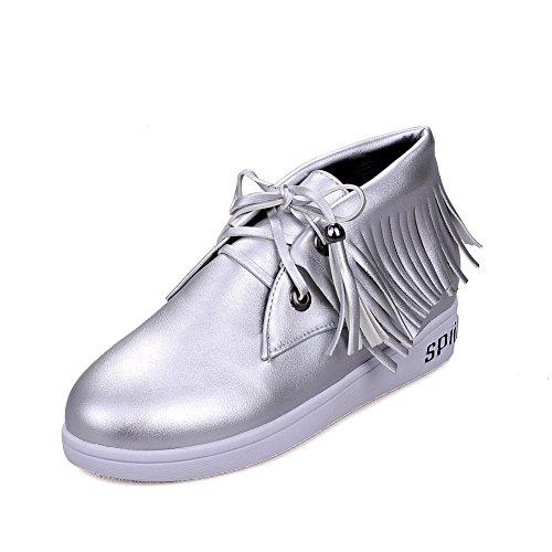 Niedriger Absatz Rund Damen AgooLar PU Silber Schuhe Rein Schnüren Pumps Zehe XxIpwUq