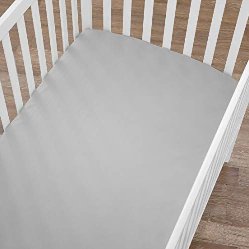 American Baby Company 2 Pack 100% Cotton Value Jersey Knit Fitted Crib Sheet for Standard Crib and Toddler Mattresses, Gray, for Boys and Girls