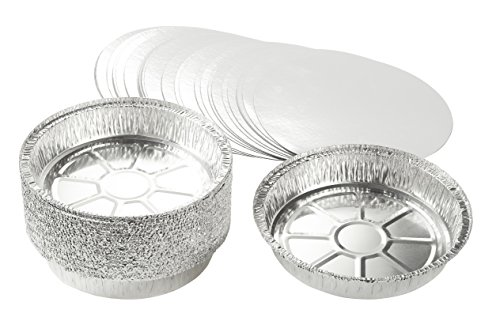 Round Cake Tin (Aluminum Foil Pans - 25-Piece Round Disposable Tin Pans with Flat Board Lids for Baking, Roasting, Broiling, and Cooking, 9 x 1.6 x 9 Inches)