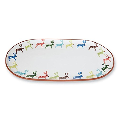 Mud Pie 4075164 Christmas Holiday Reindeer Terracotta Oval Serving Platter One Size ()