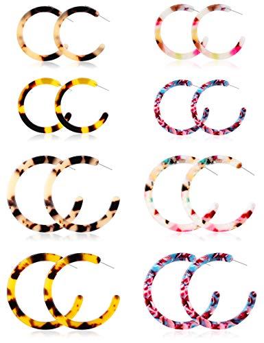 (LOYALLOOK LOYALLOOK 8 Pairs Acrylic Hoop Earrings for Women Girls Open Resin Stud Dangle Earring Set Statement Earring Jewelry)