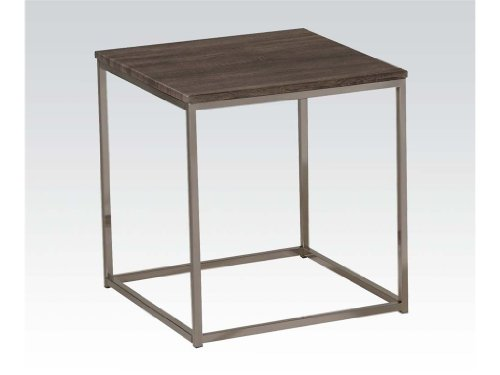 ACME Furniture 81499 Cecil End Table, Walnut Brushed Nickel