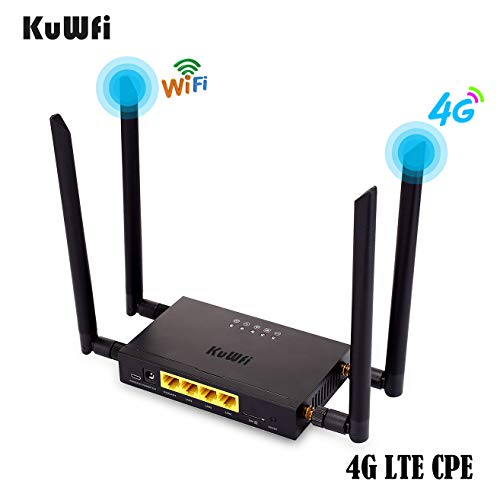 KuWFi 4G LTE Car WiFi Wireless Internet Router 300Mbps Cat 4 High Speed Industry CPE with SIM Card Slot and 4pcs…