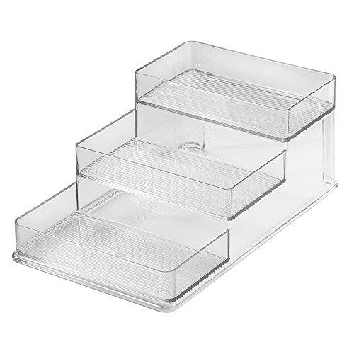 InterDesign Linus Spice Organizer Rack – 3-Tiered Storage for Kitchen, Pantry, Cabinet or Countertops - Medium, Clear (Medium Bathroom Medicine Cabinet)