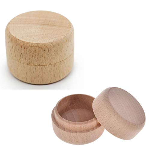 Diy Ring Box (HOLLY TRIP 2PCS Small Round Unpainted Wooden Box, Wedding Ring Jewelry Boxes DIY Storage Trinket Bearer Box Container)