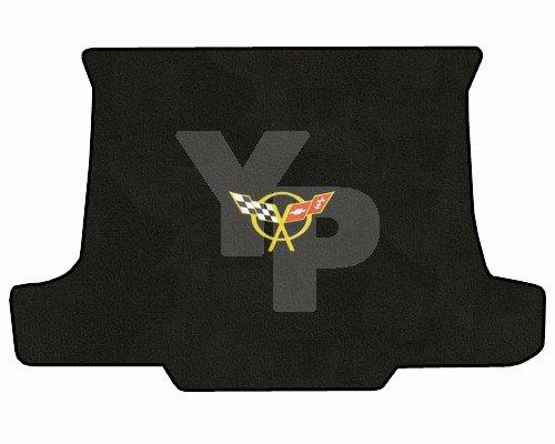 (C5 Corvette Convertible Classic Loop Black Trunk Mat - Yellow Crossed Flags Logo)