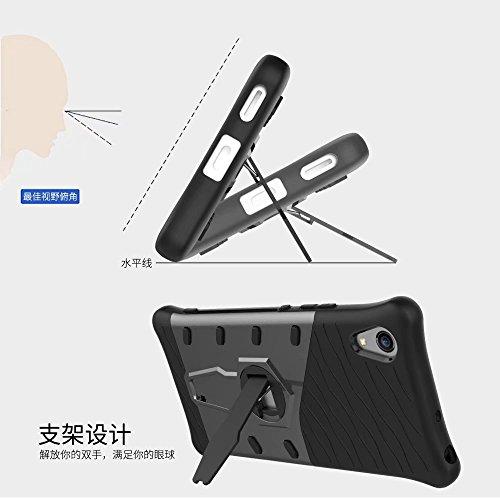 YHUISEN Sony XA1 Case, Hybrid Tough Rugged Dual Layer Rüstung Schild Schützende Shockproof mit 360 Grad Einstellung Kickstand Case Cover für Sony Xperia XA1 ( Color : Biue )