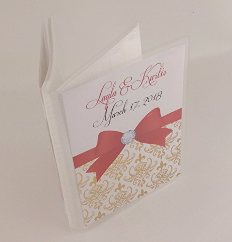 Wedding Photo Album 605 Gold Damask with red bow personalized engagement anniversary 4x6 or 5x7