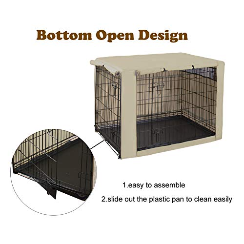 HiCaptain Polyester Dog Crate Cover, Durable Windproof Pet Kennel Cover Provided for Wire Crate Indoor Outdoor Protection (42 Inch, Tan) by HiCaptain (Image #4)
