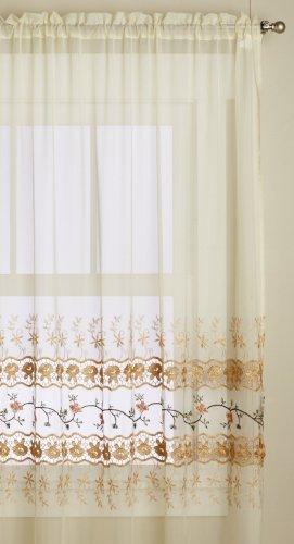 Editex Home Textiles Rose Garden Window Panel, 60 by 63-Inch, Ecru/Gold