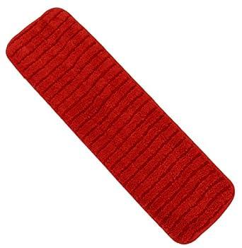 "Wilen C124018, Super Pro II Microfiber Cut End Flat Mop with Scrub Refill, 18"" Length x 5"" Width, Red (Case of 12)"