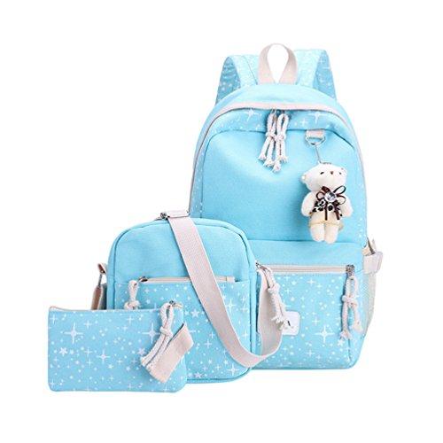 Air Bag Xinwcang Bag Shoulder Of Free Travel 3 Pieces Blue Handbag Girl Casual Set School Bag Fashion Canvas Women RvZqfv