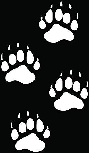 Bear Paws Prints Tracks Hunting Car Truck Window Bumper Vinyl Graphic Decal Sticker- (6 inch) / (15 cm) Tall GLOSS WHITE - Prints Paw Bear