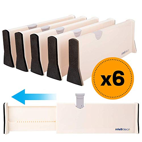INTELLIDECO Drawer Dividers Organizer (6 Pack), Expandable Drawer Divider Organizers from 11-17, Adjustable Separators Perfect for Bedroom, Dresser, Kitchen and Office Use
