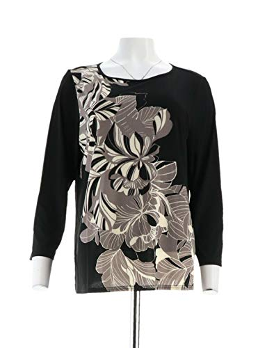 (Bob Mackie Art Deco Placement Print Boat Neck Knit Top Black L New A341822)